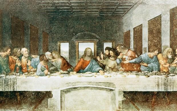 Az utolsó vacsora Leonardo da Vinci freskóján